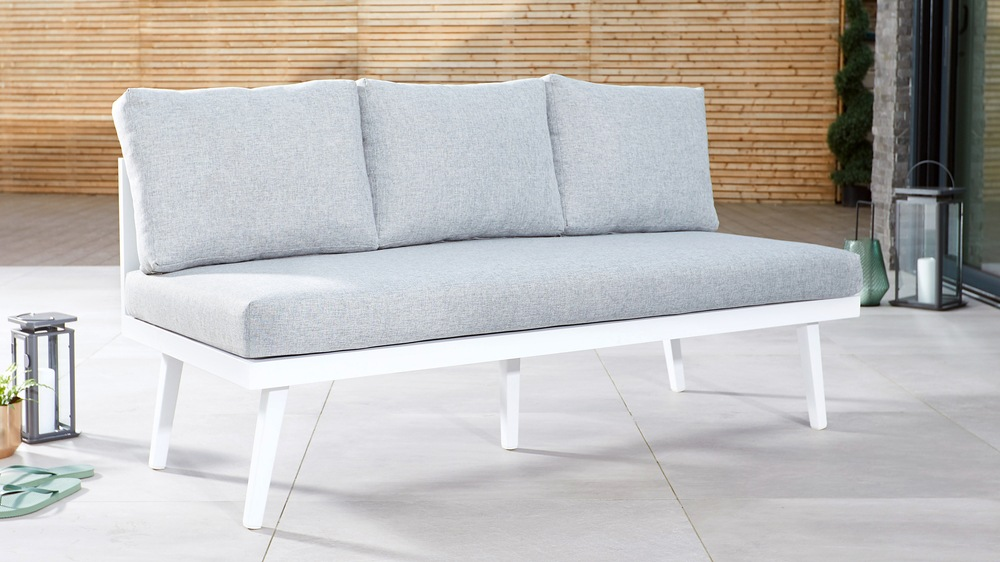White outdoor bench for families