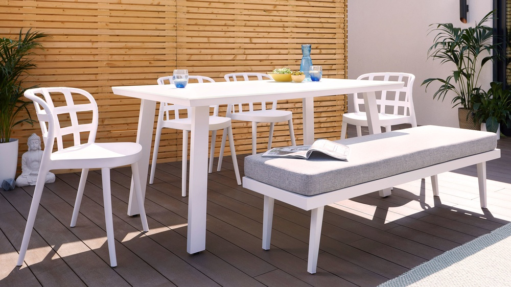 Palermo white bench set