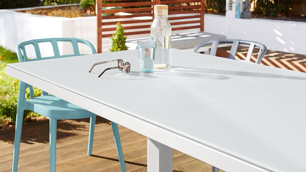 6 seater white frosted glass garden table
