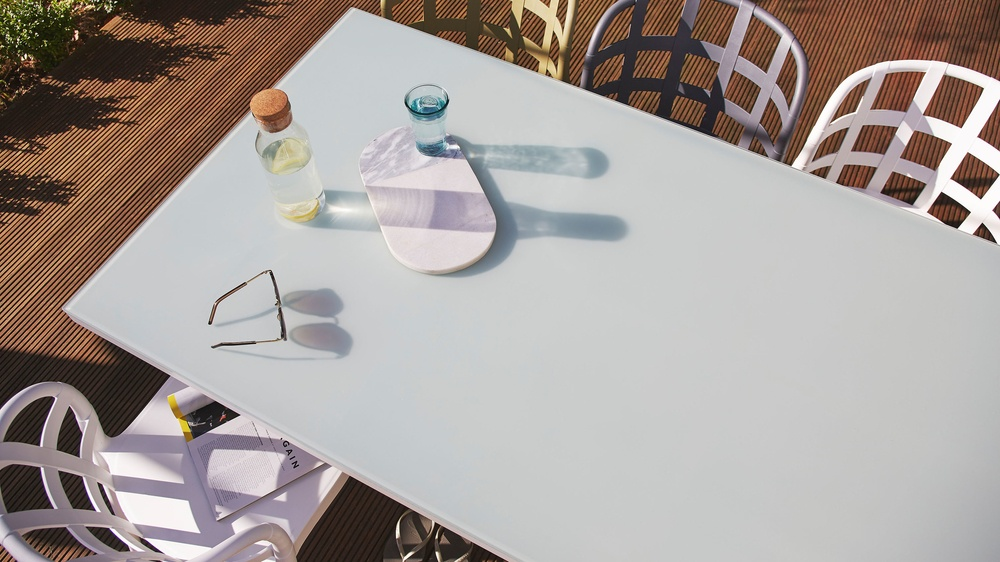 Frosted glass garden dining sets