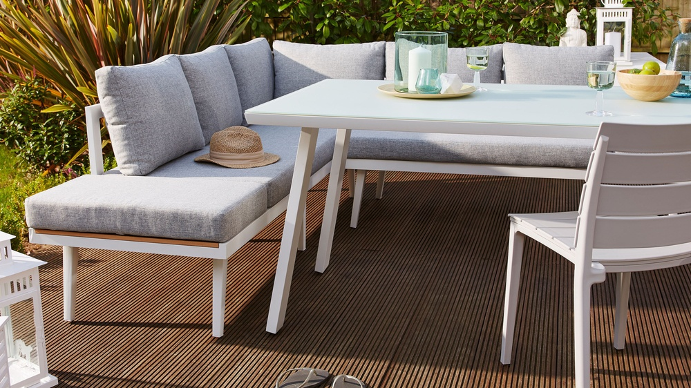 Palermo White Right Hand Corner Garden Dining Bench