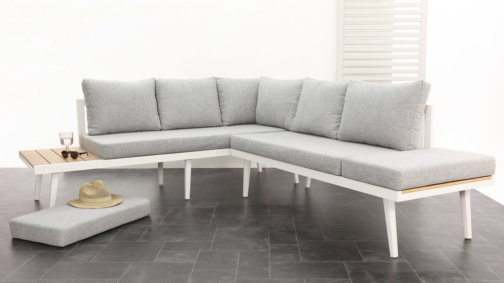 Large modern white corner bench