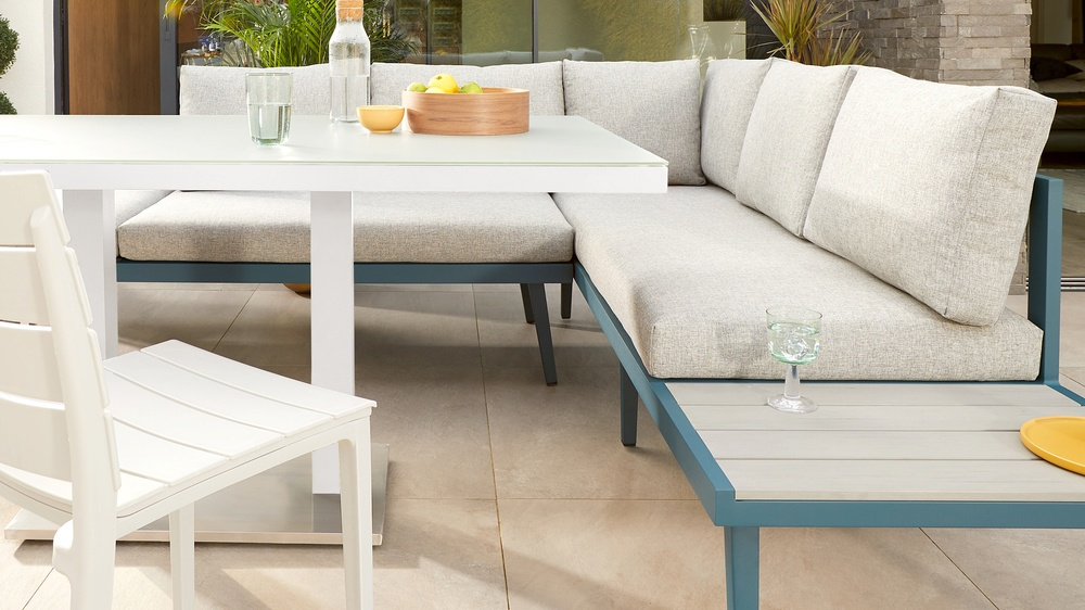 White frosted glass garden table