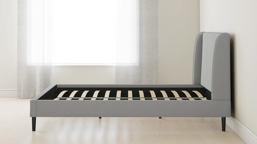 King size feather grey velvet bed
