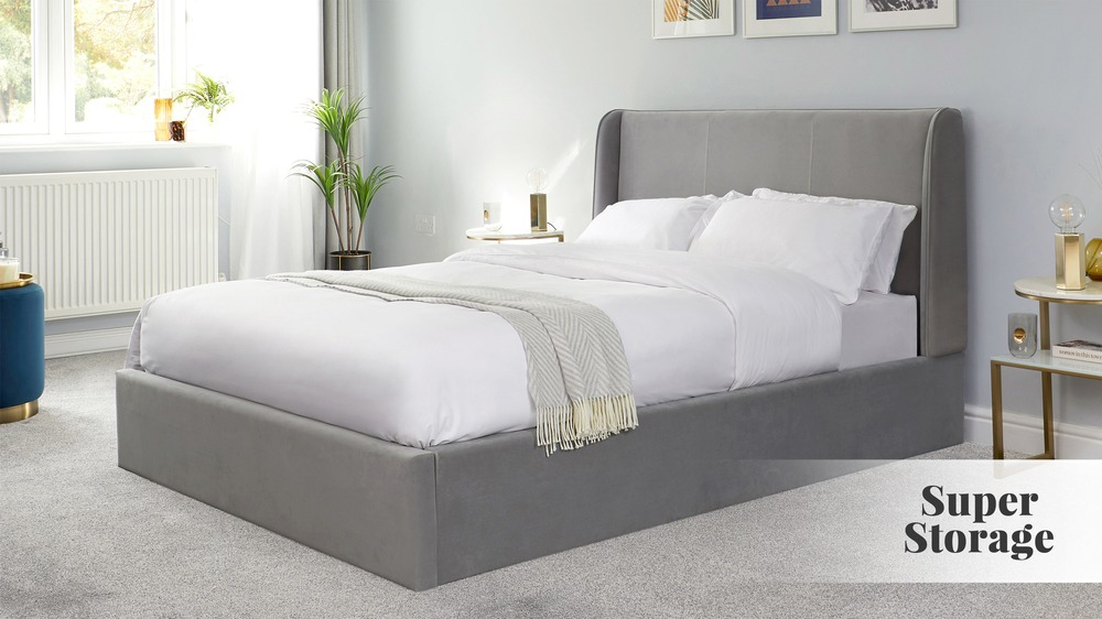 Paolo Feather Grey Velvet King Size Ottoman Bed