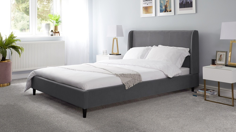 dark grey king size velvet bed