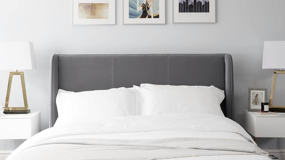 dark grey simple velvet super king size bed