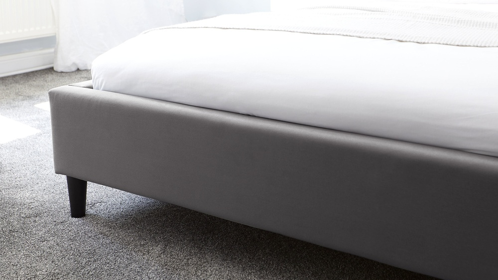 simple dark grey velvet bed