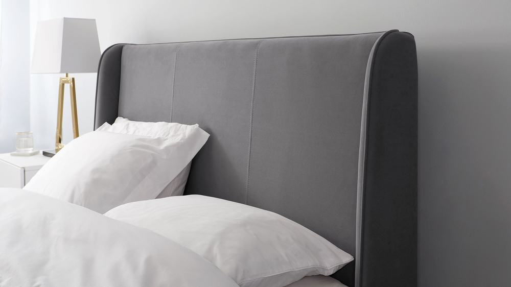 simple grey velvet headboard super king size bed
