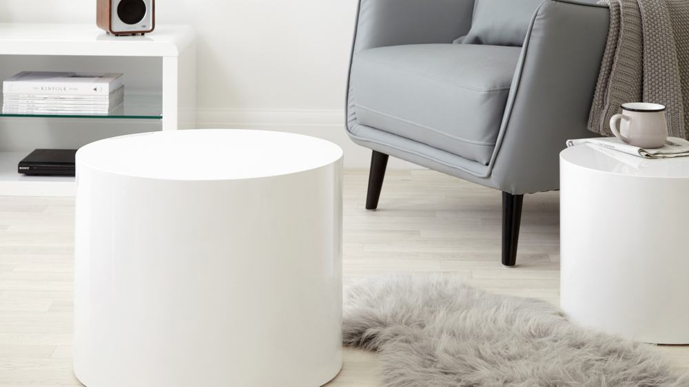 pebble high gloss side tables | white or grey gloss | uk