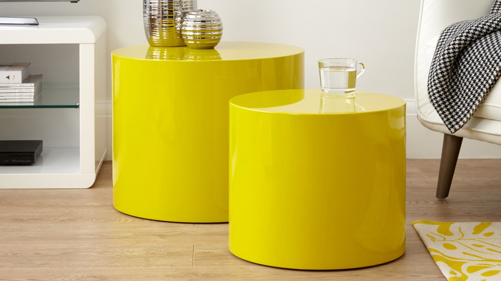 mustard yellow pebble side table