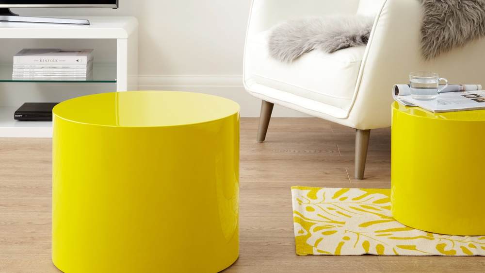 bright yellow round side table