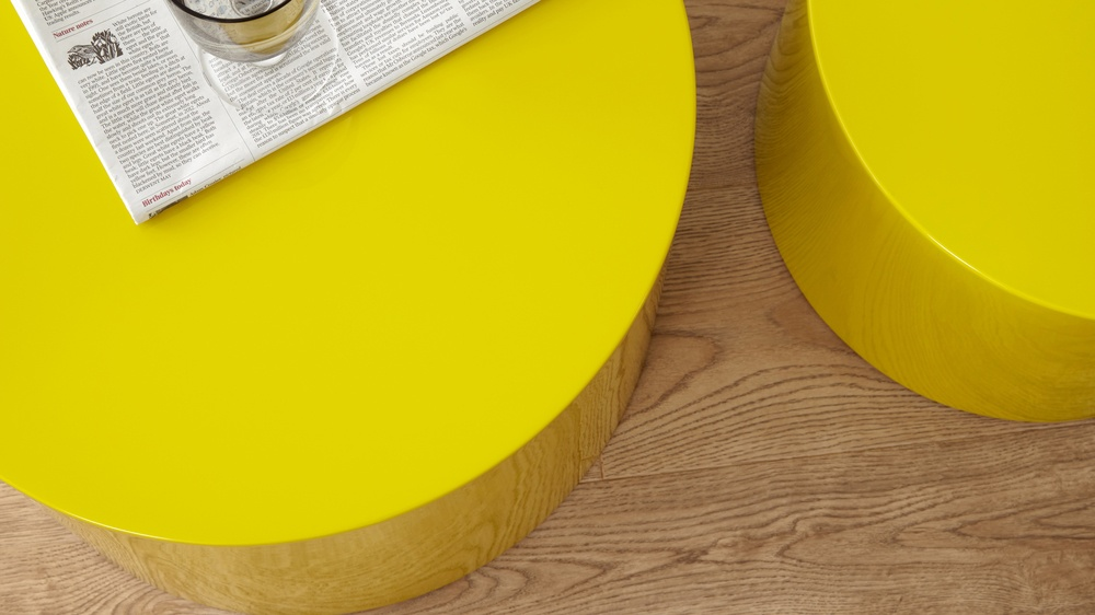 yellow round set of two side tables