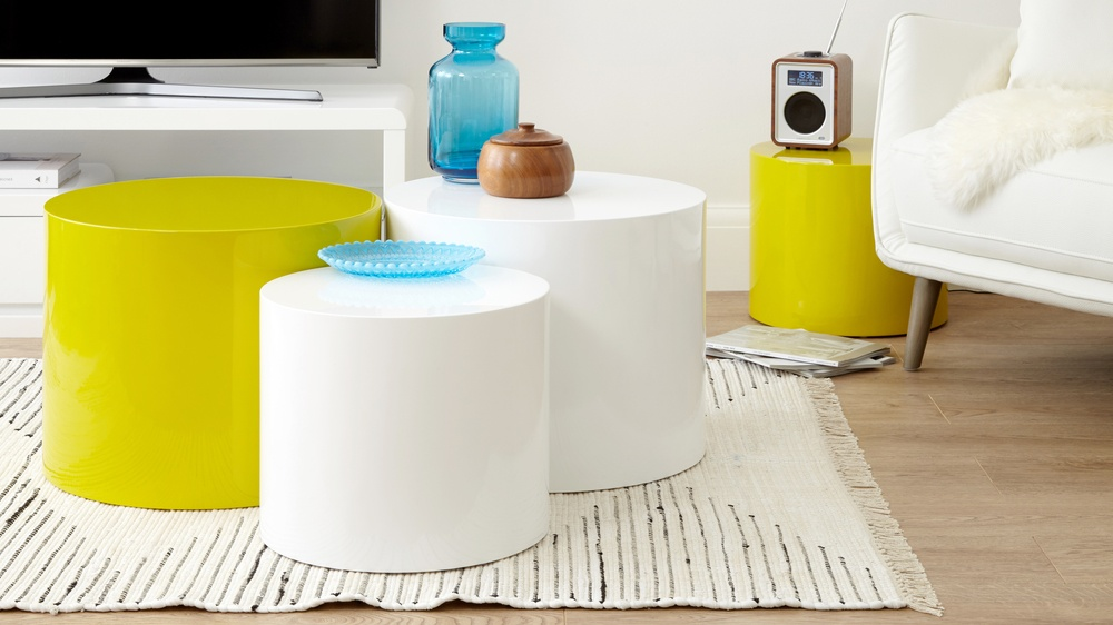 yellow gloss round side table set of two