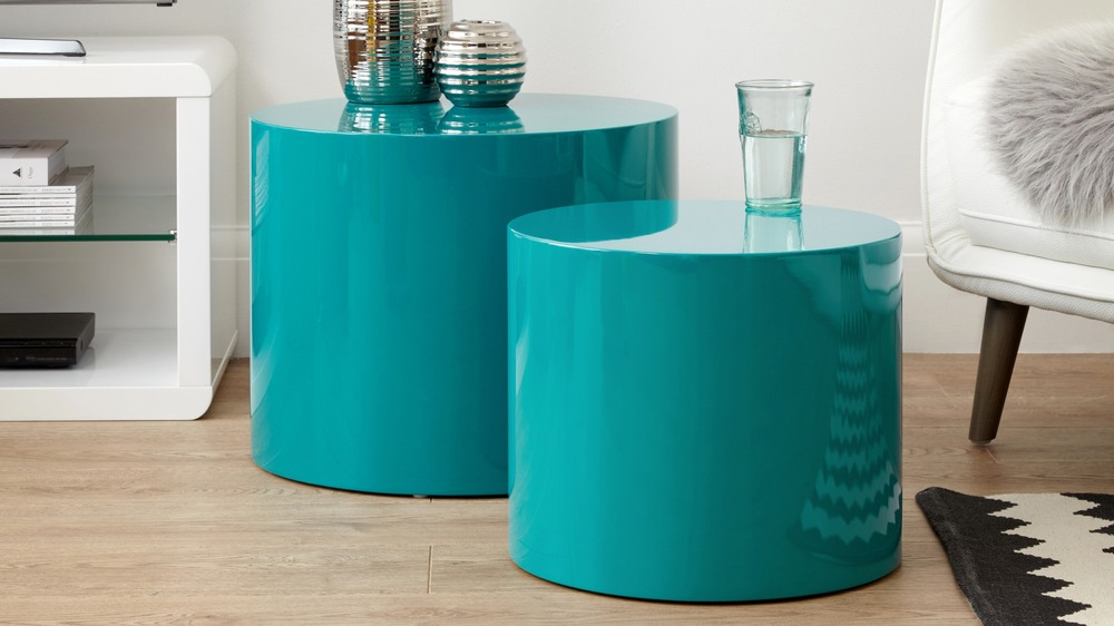 teal round side tables