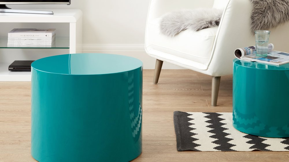 set of two teal side tables