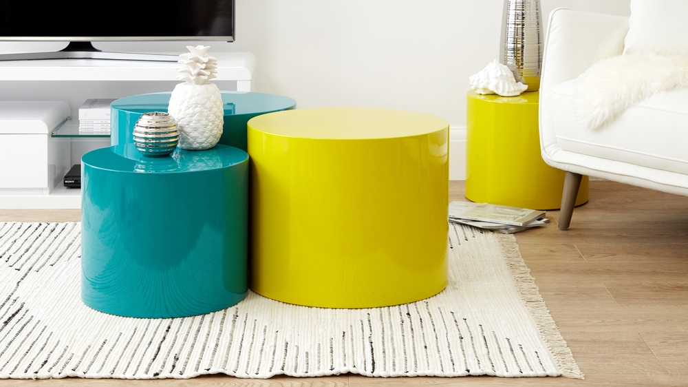 stackable teal high gloss side table set