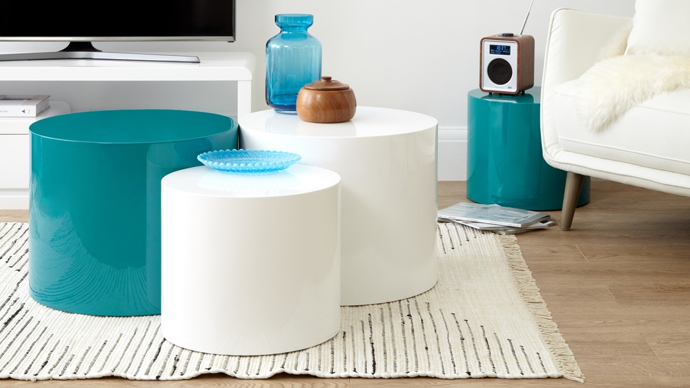 versatile teal gloss set of two tables