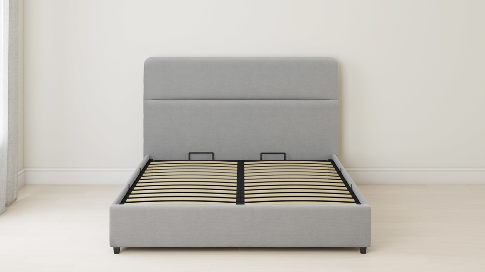 lift up storage grey bed