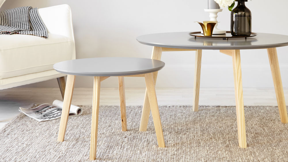Grey and Oak Side Table | Round Side Table | UK Delivery