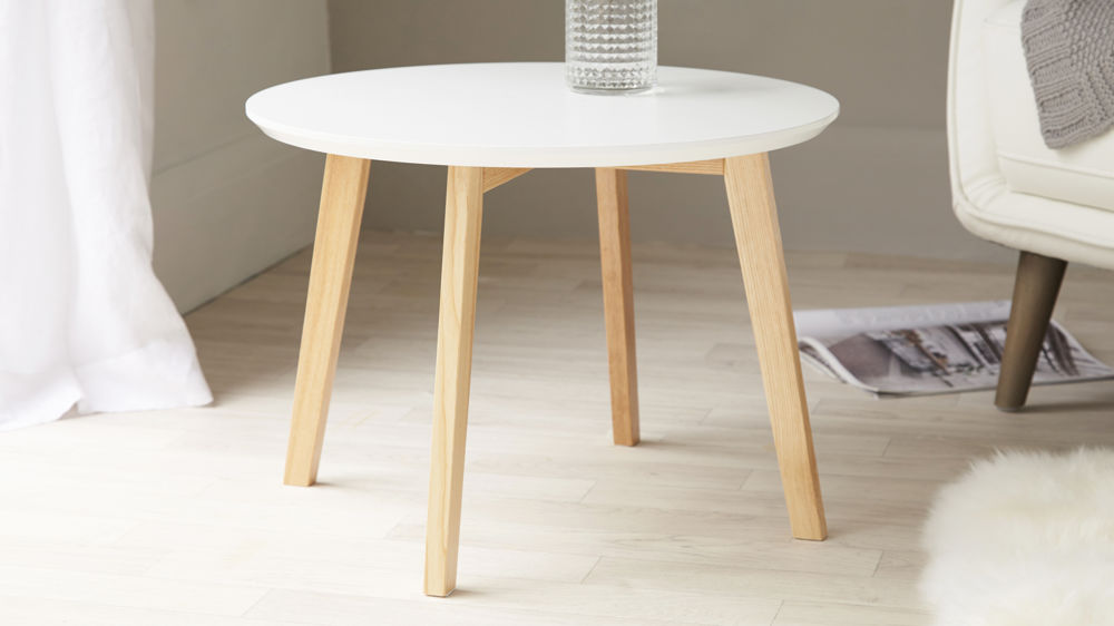 White And Oak Side Table Round Side Table Uk Delivery