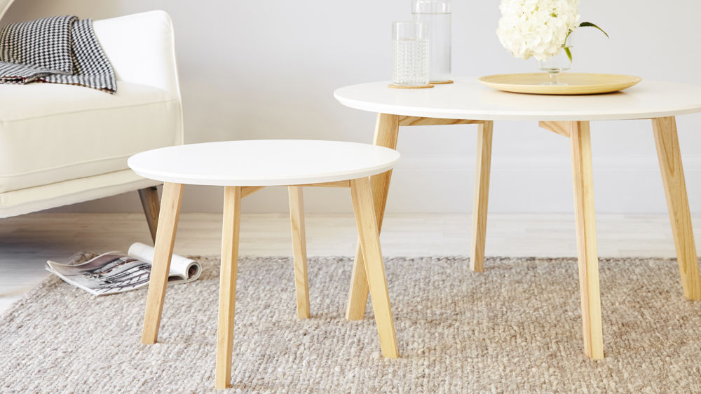 White And Oak Side Table