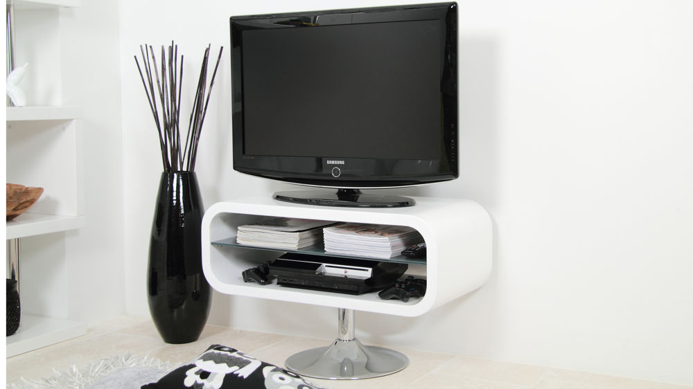 Modern White Tv Stand Chrome Pedestal Base White Gloss