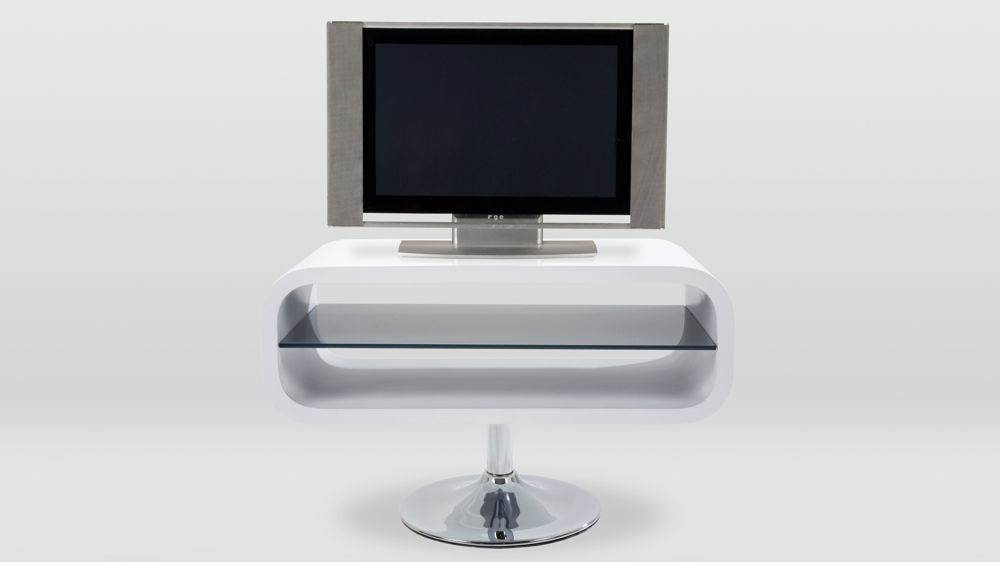 Modern White Gloss and Chrome Based TV Unit
