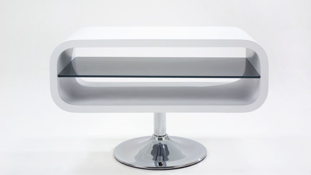 Small White Gloss TV Stand with a Chrome Base