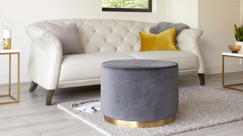 Plaza Large Silver Grey and Brass Footstool