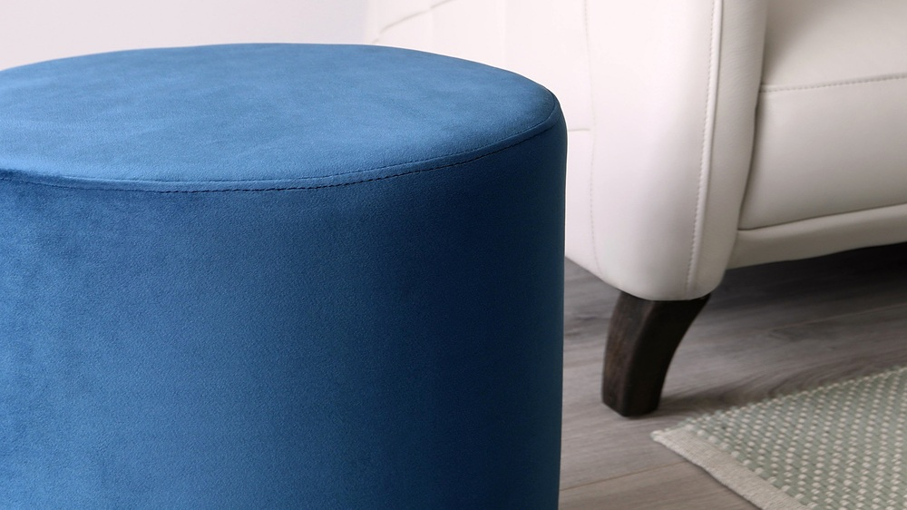 Plaza Sapphire Velvet Stool Velvet Side Table Danetti Uk