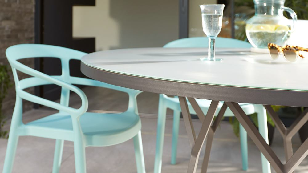 Modern grey round garden dining table