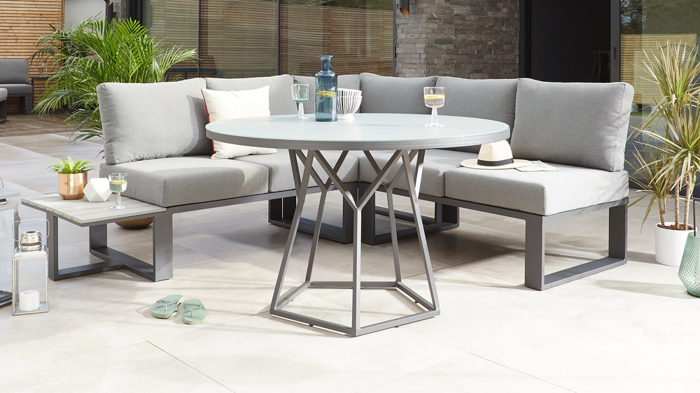 Porto Grey Round 4 To 6 Seater Garden Dining Table