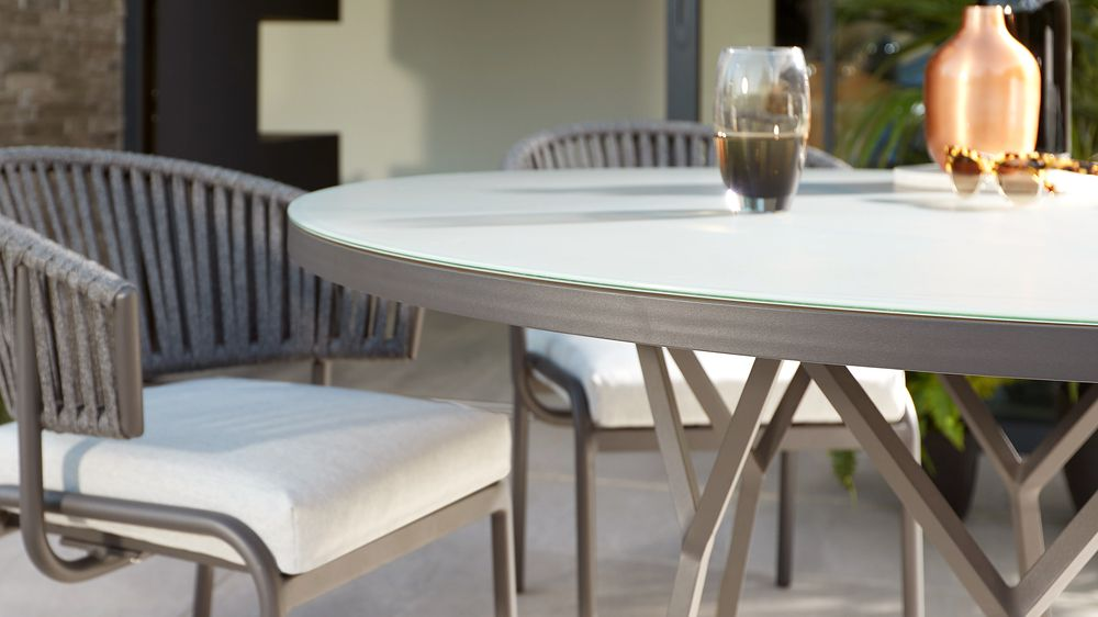 Tempered glass outdoor dining table grey