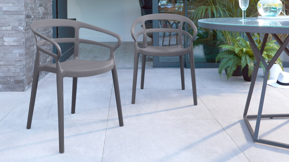 Slate grey stacking garden chairs