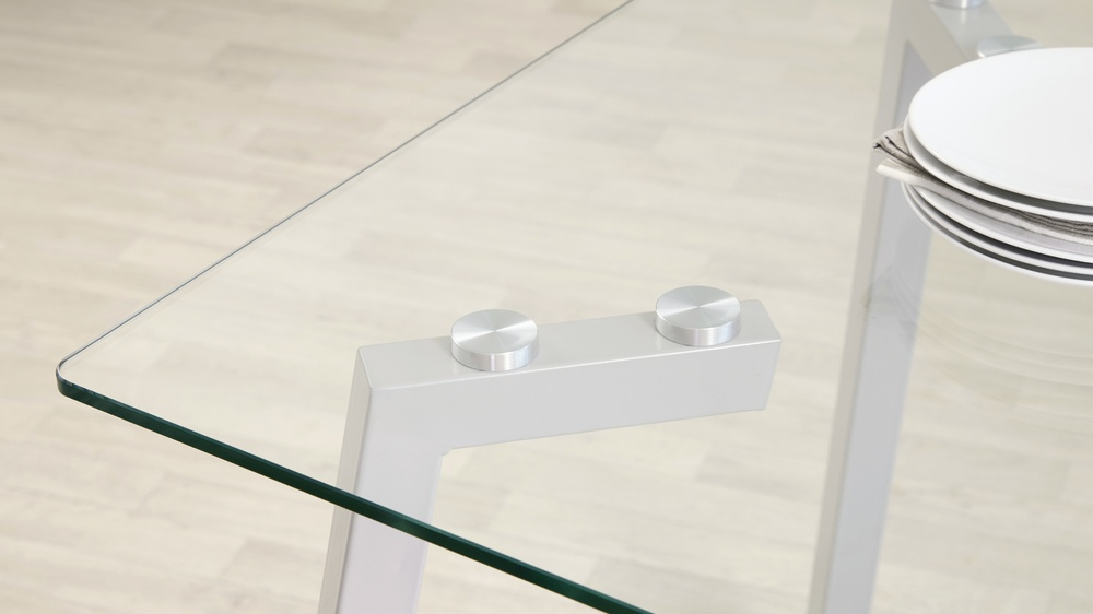 Glass and Grey Gloss Modern Table