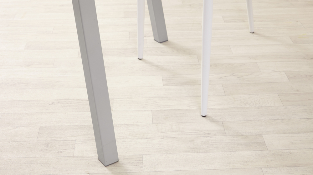 Grey Gloss Metal Leg Dining Table