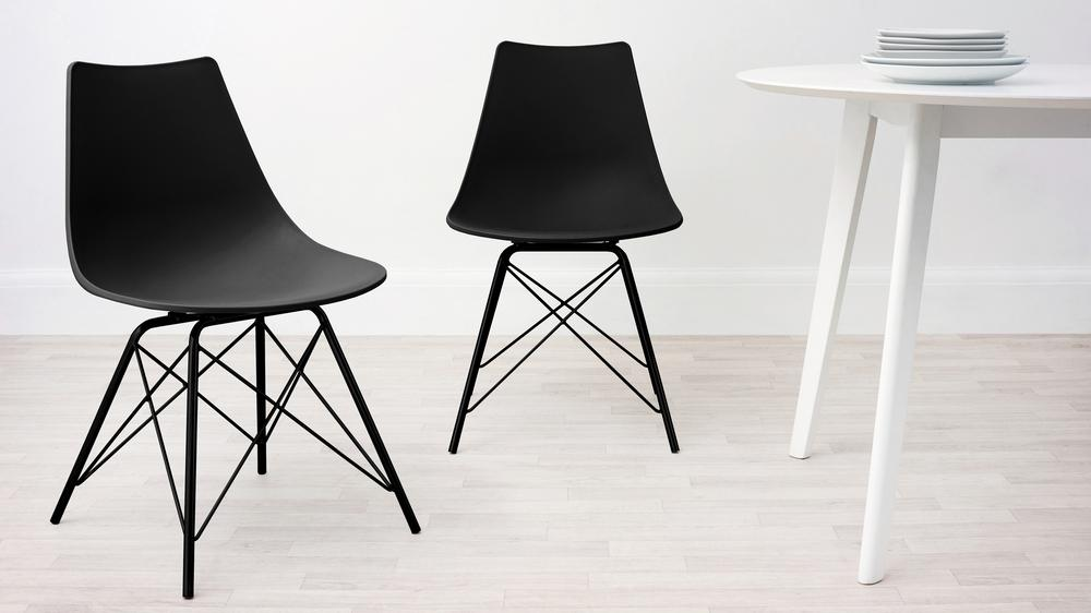 Black and Black Wire Dining Chair