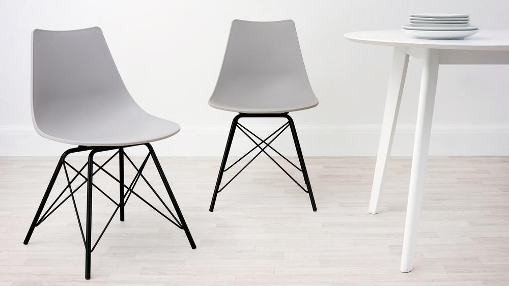 Light Grey and Black Wire Dining Chair