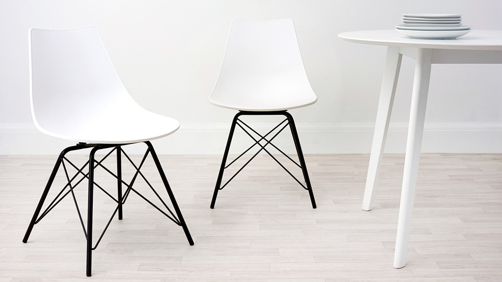 White and Black Wire Dining Chair