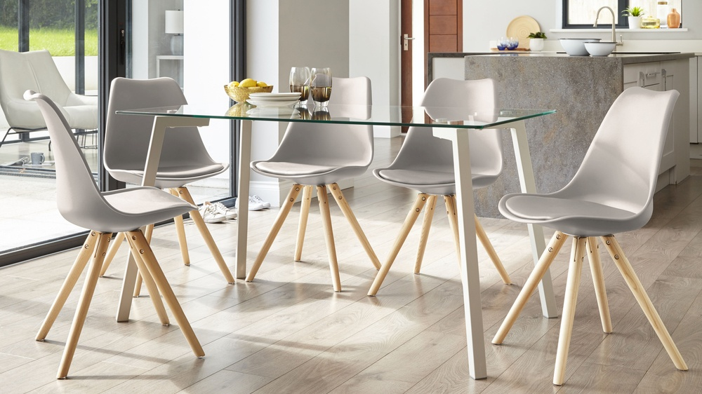 Taupe Grey dining chair with glass table set