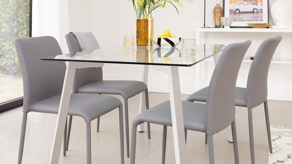 grey glass table