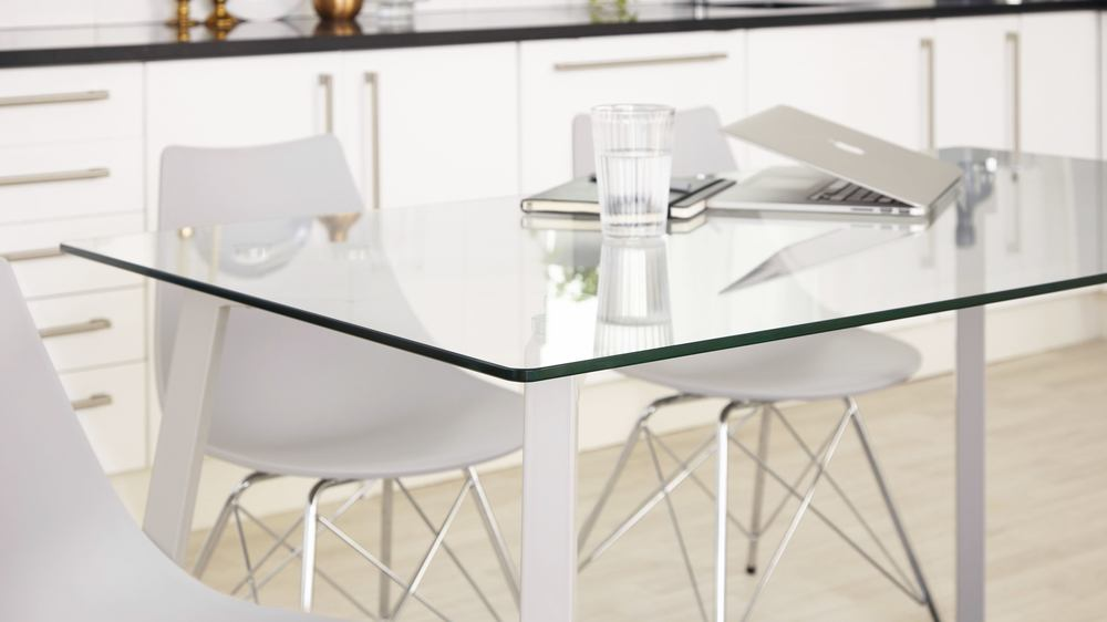 Profile Grey Gloss Table and Chrome Chairs
