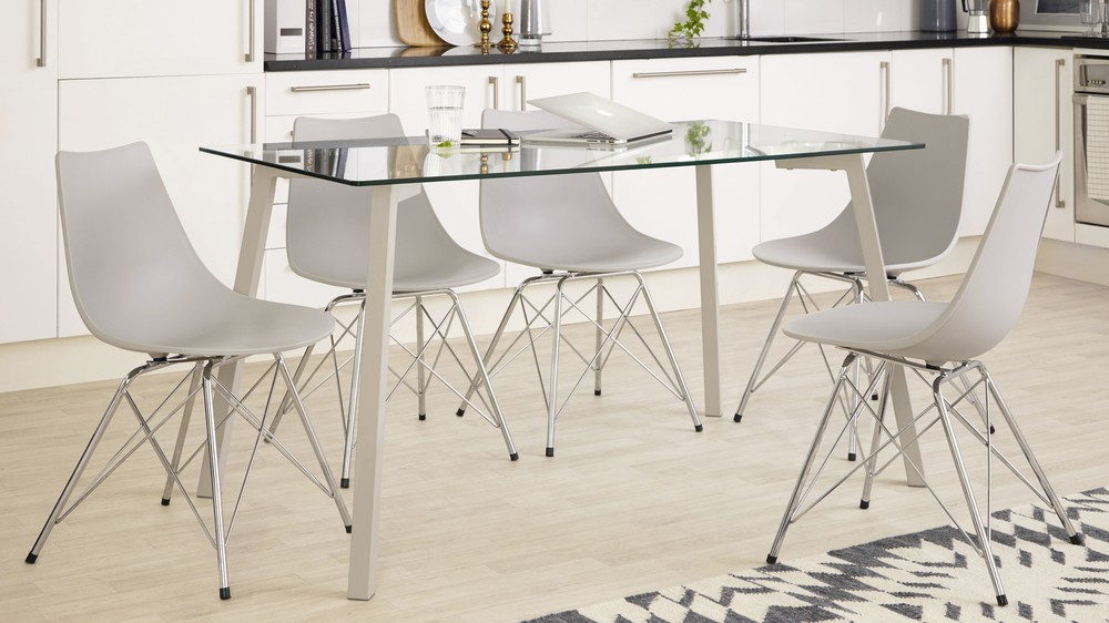 Glass table and Chrome Dining Chairs
