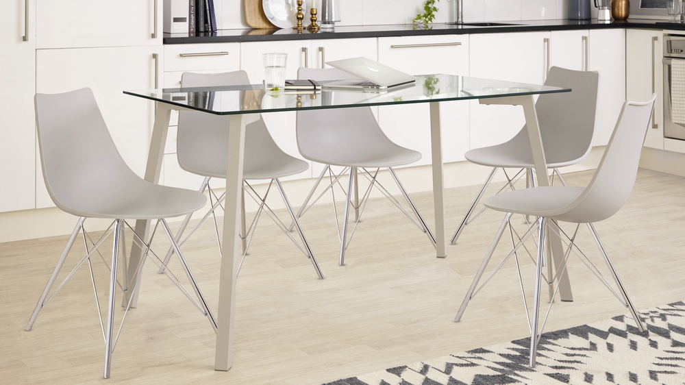 Profile And Stylo 4 6 Seater Glass And Grey Dining Set