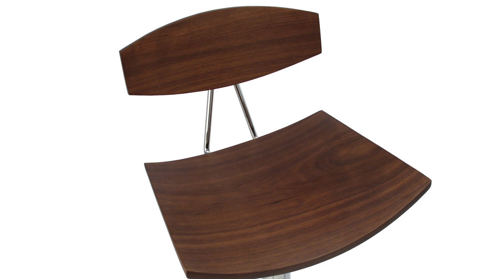 Contemporary Adjustable Bar Stool In Leather Or Wooden Veneer
