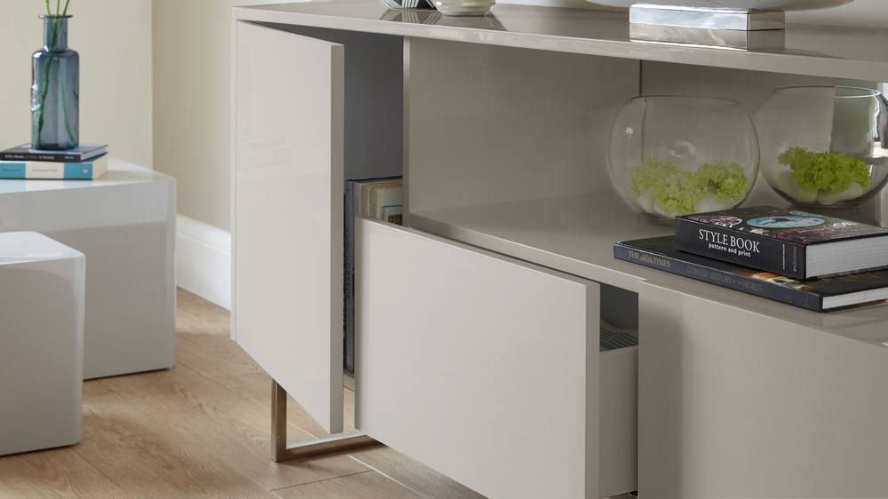 Contemporary Grey Gloss Sideboard