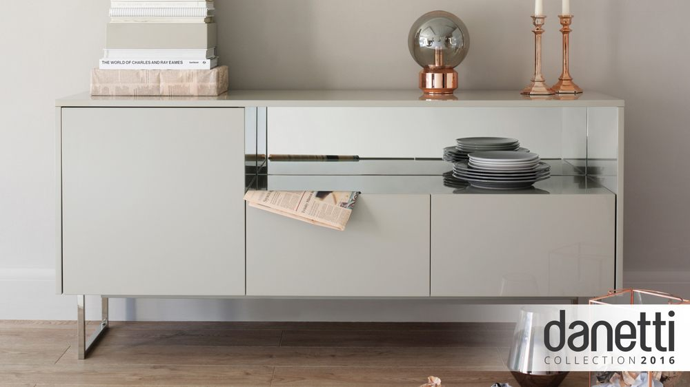 Contemporary Grey High Gloss Sideboard Danetti Uk