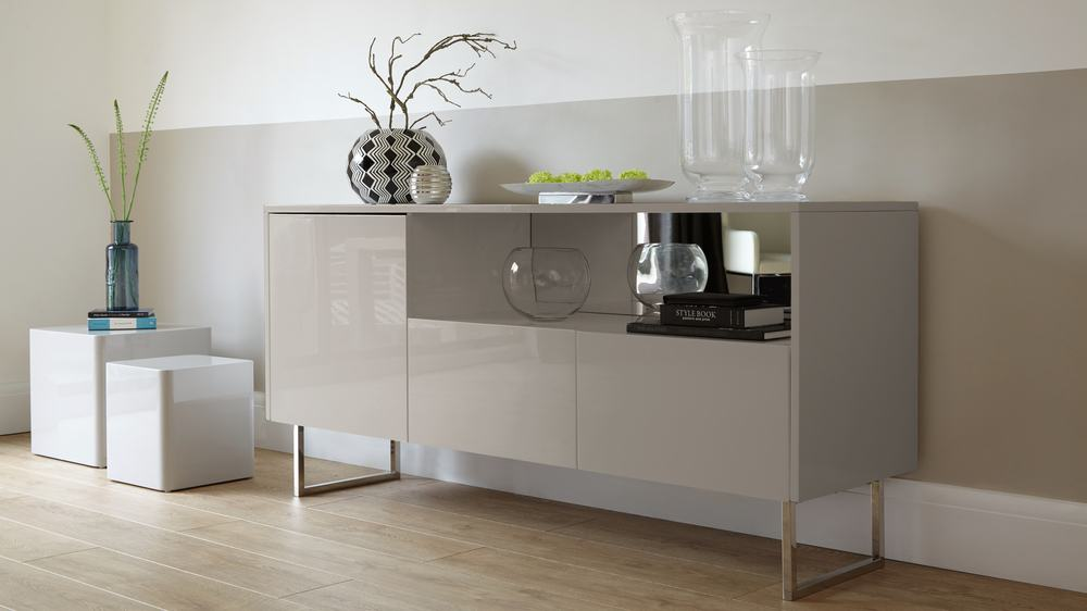 Modern Designer Grey Gloss and Chrome Sideboard