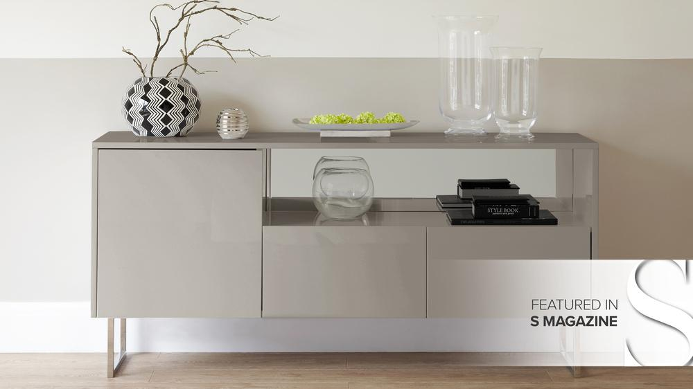 refelct grey gloss sideboard featured in S magazine
